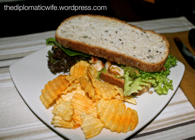 Grilled Chicken, Bacon, Lettuce and Tomato sandwich