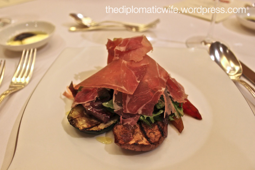 Antipasto Misto: Selection of grilled vegetables, mixed lettuce, rock melon and parma ham marinated with balsamic dressing