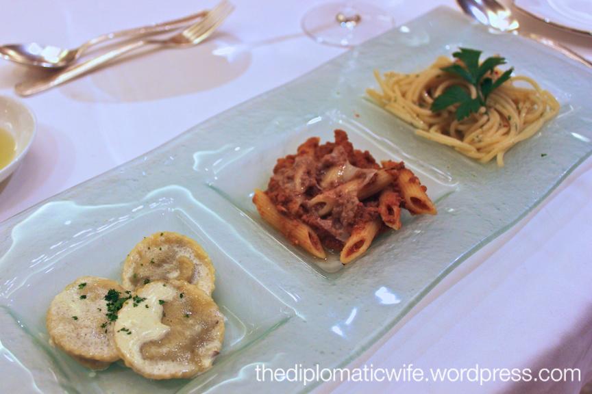 Trio Di Pasta: Ravioli in cream, Penne Bolognese and Spaghetti Aglio E Olio