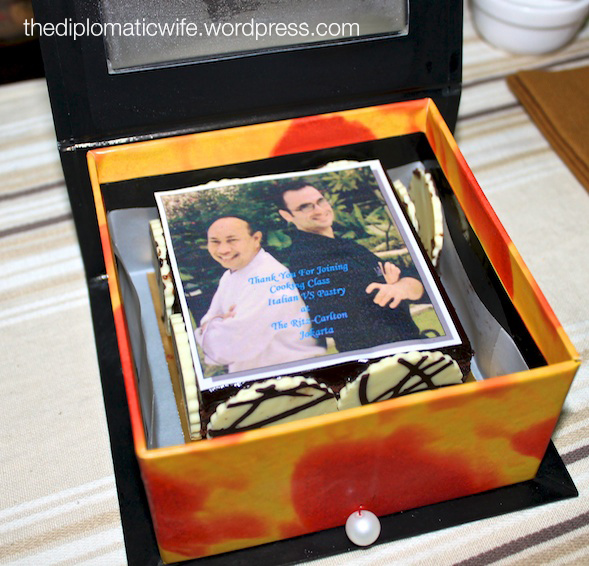 Goody bag from Ritz Carlton Italian vs Pastry Cooking Class included the dessert favorite, Chocolate Ganache with edible picture of the Chefs.
