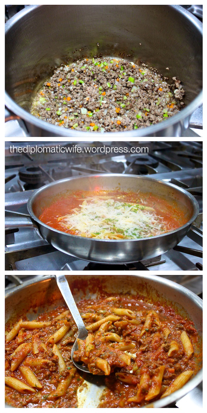 Making Bolognese Sauce at the Italian vs Pastry Cooking Class in Lobo, Ritz Carlton