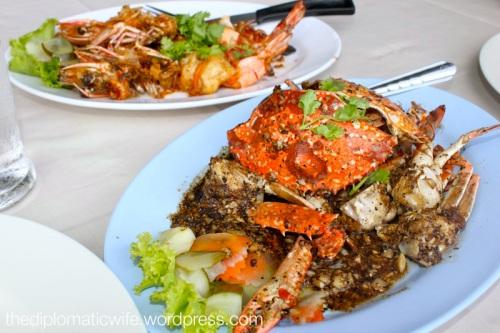 Black pepper crabs at Phong Phang Seafood Restaurant Phuket Thailand