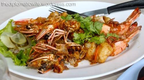 Fried Garlic butter prawns at Phong Phang - Palai Bay Phuket Thailand