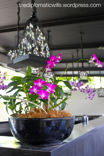 Lovely purple orchids at the Sala Phuket reception desk