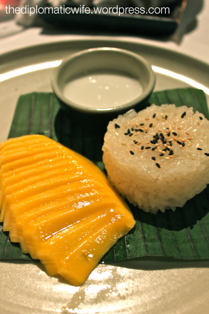 Kaw niao mun kap mamuang or sweetened sticky rice with mango and coconut cream at the Thai Cultural Evening in Sala Restaurant Phuket Thailand