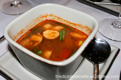 TOM YAM HOI SHELL or tom yam soup at the Thai Cultural Evening in Sala Restaurant Phuket Thailand