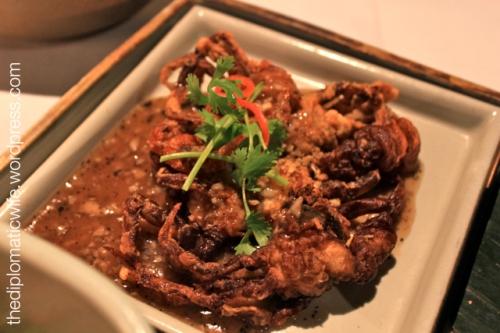 Poo nim phad prik thai dam or Crispy soft shell crab at the Thai Cultural Evening in Sala Restaurant Phuket Thailand