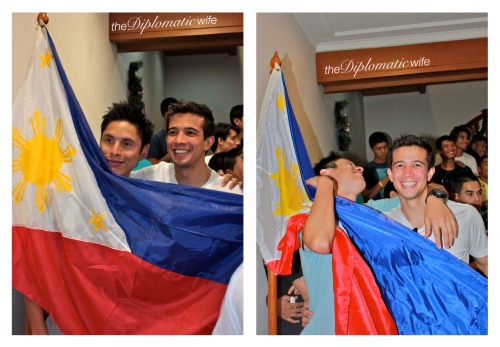 Azkals/Philippine Men's Football Team: Christ Greatwhich and Rob Gier with the Philippine flag